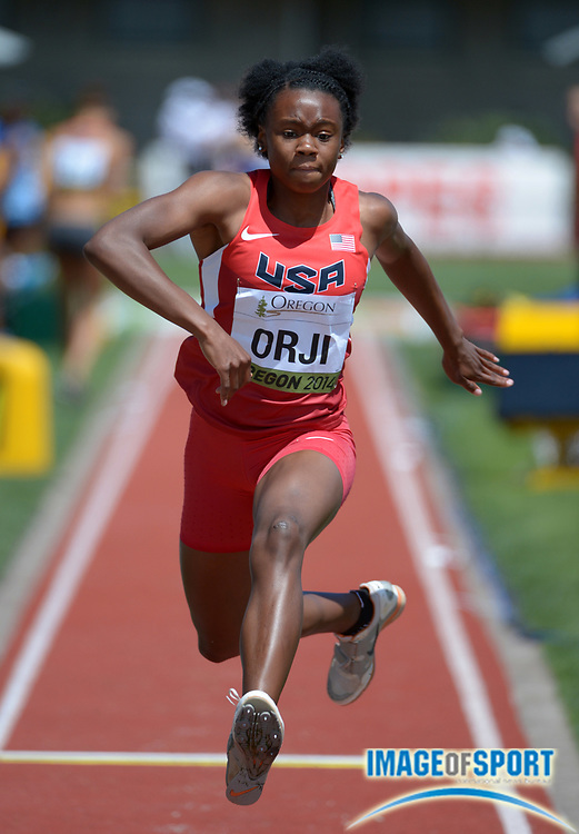 Jul 24, 2014; Eugene, OR, USA; Keturah Orji (USA) bounds 44-2 (13.46m) in the womens triple jump qualifying to advance in the 2014 IAAF World Junior Championships at Hayward Field.