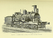 Steam locomotive Equipped with electric light in the front From the Book Les merveilles de la science, ou Description populaire des inventions modernes [The Wonders of Science, or Popular Description of Modern Inventions] by Figuier, Louis, 1819-1894 Published in Paris 1867