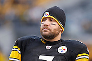Ben Roethlisberger of the Pittsburgh Steelers looks on against the Baltimore Ravens in the AFC Divisional Playoff game on Jan. 15, 2011 at Heinz Field in Pittsburgh, Pennsylvania. The Steelers won 31-24. (Photo by Joe Robbins)