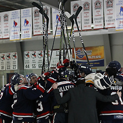 COCHRANE, ON - MAY 3: Members of the Cochrane Crunch share an emotional moment as their season comes to an end on May 3, 2019 at Tim Horton Events Centre in Cochrane, Ontario, Canada.<br /> (Photo by Tim Bates / OJHL Images)