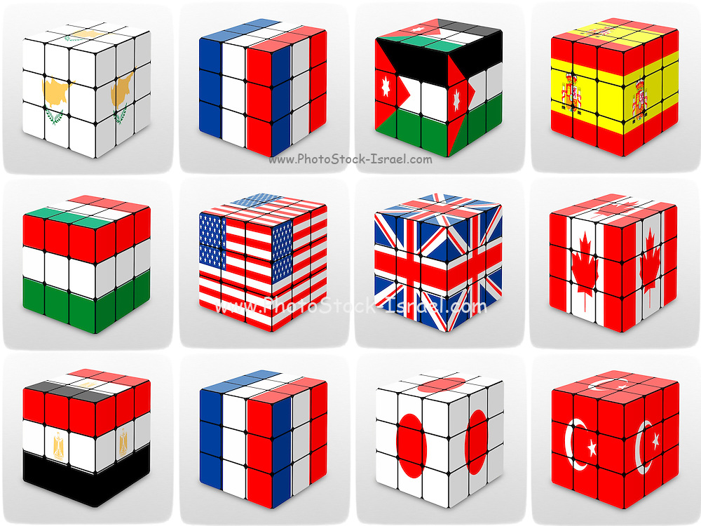 Collage of cubes of flags of different nation