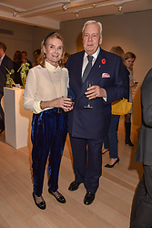 Lady Mary-Gaye Curzon and David Mcdonough at a private view of recent work by Georgiana Anstruther held at the Sladmore Gallery, 32 Bruton Place, London England. 08 November 2018. <br /> <br /> ***For fees please contact us prior to publication***