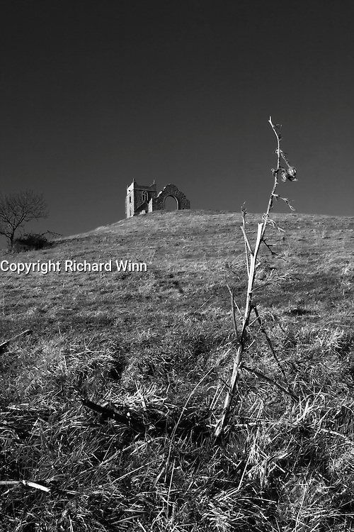 While looking for an image to submit to an Ansel Adams challenge, I started playing around with wide-angles. This dead remains of a thistle was the perfect foreground to create an altered perspective of the ruined church on top of the hill.