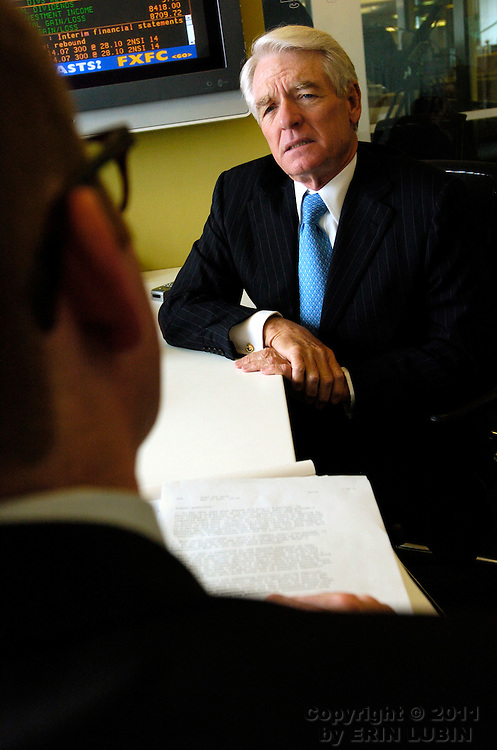 Charles Schwab, founder of the Charles Schwab Corporation, responds to questions during an interview at the Bloomberg office in downtown San Francisco, Calif., on Friday, May 11, 2007. ..PHOTOGRAPHER: Erin Lubin/Bloomberg News.