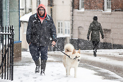 © Licensed to London News Pictures. 10/12/2017. Market Drayton UK. A man walks his dog in the snow this morning in the village of Market Drayton as Heavy snow begins falling in Shropshire. Photo credit: Andrew McCaren/LNP