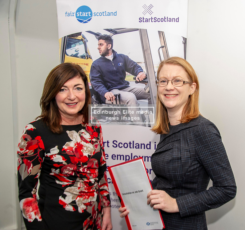 Pictured: Social Security Secretary Shirley-Anne Somerville and Louise Accarino, Start Scotland's Performance Manager for Edinburgh and Lothians.<br />Social Security Secretary Shirley-Anne Somerville visited the the Edinburgh offices of StartScotland to launch a consultation inviting views on a new benefit to help young people with the costs associated with starting work.<br /><br /><br />Ger Harley | EEm 16 January 2019