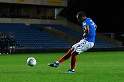 Anton Walkes (2) of Portsmouth takes a penalty during the shoot out at full time after a 2-2 draw during the Leasing.com EFL Trophy match between Oxford United and Portsmouth at the Kassam Stadium, Oxford, England on 8 October 2019.