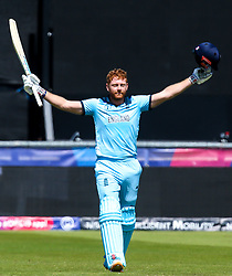 Jonny Bairstow of England celebrates reaching 100 runs against New Zealand - Mandatory by-line: Robbie Stephenson/JMP - 03/07/2019 - CRICKET - Emirates Riverside - Chester-le-Street, England - England v New Zealand - ICC Cricket World Cup 2019 - Group Stage