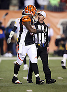 NFL referee John Parry (132) talks to Cincinnati Bengals defensive end Wallace Gilberry (95) during a break in the action during the NFL AFC Wild Card playoff football game against the Pittsburgh Steelers on Saturday, Jan. 9, 2016 in Cincinnati. The Steelers won the game 18-16. (©Paul Anthony Spinelli)