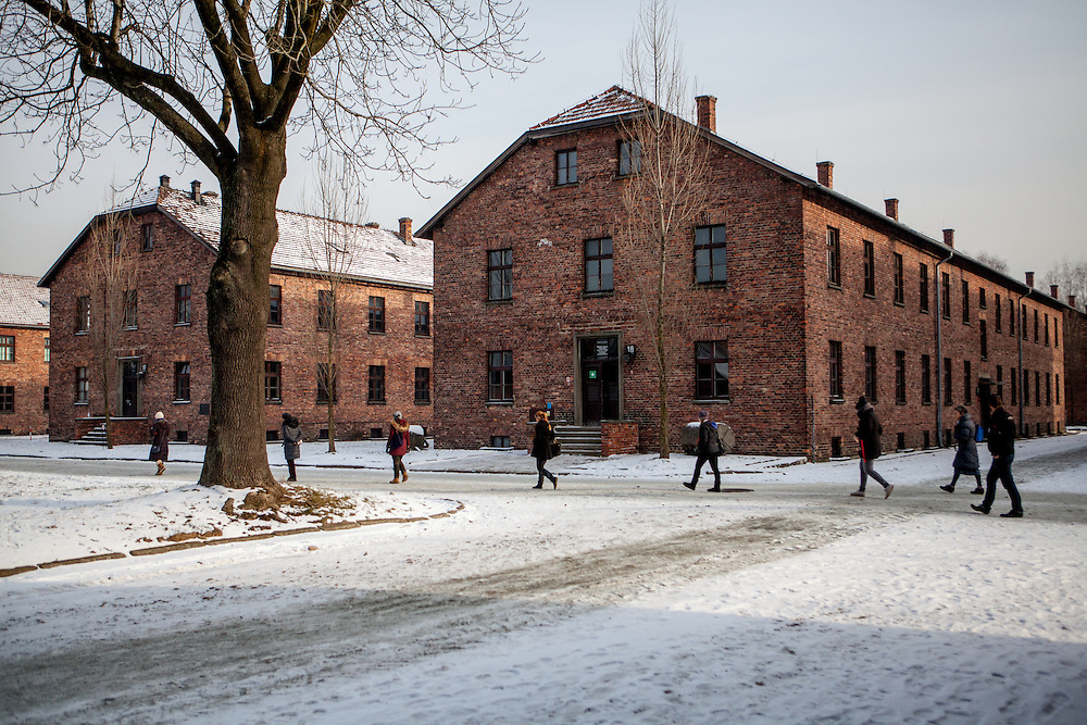 Visitors at the Auschwitz Nazi concentration camp. It is estimated that between 1.1 and 1.5 million Jews, Poles, Roma and others were killed in Auschwitz during the Holocaust in between 1940-1945.