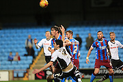 Peter Vincenti,  Niall Canavan during the Sky Bet League 1 match between Scunthorpe United and Rochdale at Glanford Park, Scunthorpe, England on 28 December 2015. Photo by Daniel Youngs.