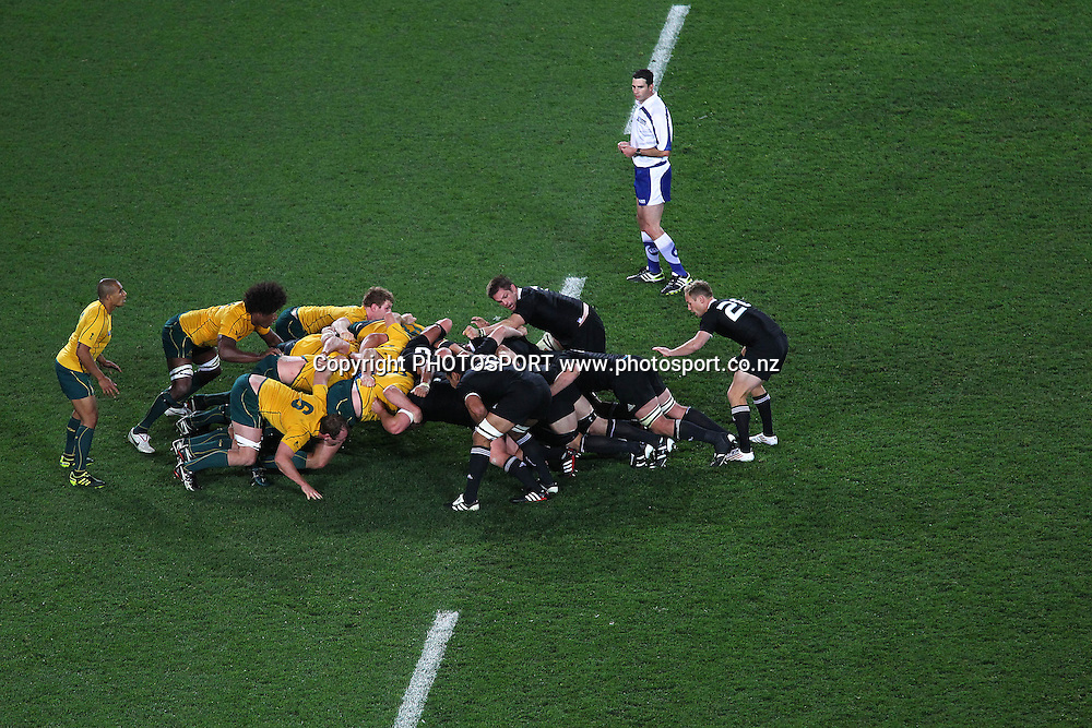 All Blacks's Andy Ellis gets ready to run a play behind the scrum during the All Blacks v Australia semi final match of the 2011 IRB Rugby World Cup. Eden Park, Auckland, New Zealand. Sunday 16 October 2011. Photo: Anthony Au-Yeung / photosport.co.nz