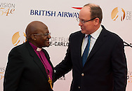 Desmond Tutu (L) and Prince Albert II of Monaco attend a photocall during the 54th Monte-Carlo Television Festival at Grimaldi Forum on June 8, 2014 in Monte-Carlo, Monaco