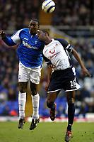 Photo: Dave Linney.<br />Birmingham City v Tottenham Hotspur. The Barclays Premiership. 18/03/2006 Bham's .Emile Heskey (L) beats  Ledley King to the ball