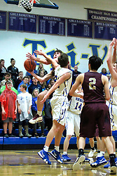 15 January 2019: Boys Basketball game between the Le Roy Panthers and the Tri Valley Vikings in Tri Valley High School, Downs IL