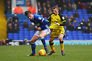 Burton Albion's Jamie Allen and Ipswich Town's Callum Connolly during the EFL Sky Bet Championship match between Ipswich Town and Burton Albion at Portman Road, Ipswich, England on 10 February 2018. Picture by John Potts.