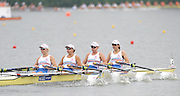 Poznan, POLAND,  GBR W4X Bow Rosamund BRADBURY, Beth RODFORD, Sarah COWBURN and Katie GREVES, competing in the women's quadruple scull, repechage, on the fourth day of the, 2009 FISA World Rowing Championships. held on the Malta Rowing lake,Wednesday  26/08/2009  [Mandatory Credit. Peter Spurrier/Intersport Images]