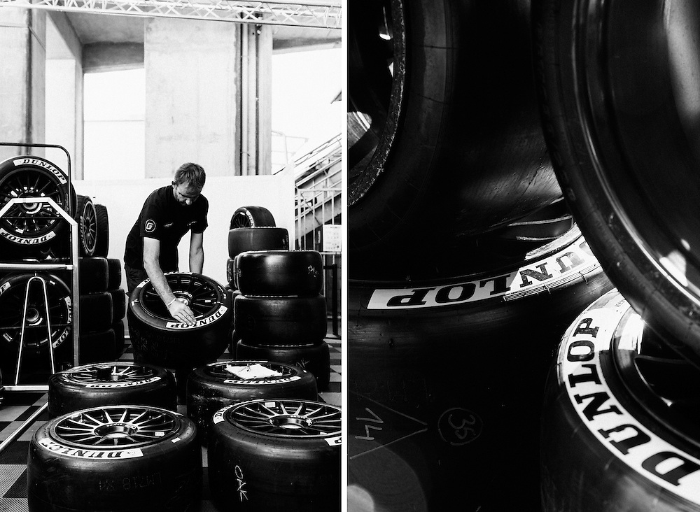 Tyres (Dunlop) are checked ahead of the Le Mans 24 2014 race. Le Mans, France, 13th June 2014. Photo by Greg Funnell.