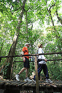 Tourists on rainforest trail in Cabo Blanco Nature Refuge, mid-Pacific coast of Costa Rica.<br />