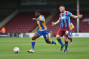 Sullay Kaikai of Shrewsbury Town during the Sky Bet League 1 match between Scunthorpe United and Shrewsbury Town at Glanford Park, Scunthorpe, England on 17 October 2015. Photo by Ian Lyall.