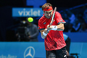 David Ferrer with a backhand return during the ATP World Tour Finals at the O2 Arena, London, United Kingdom on 20 November 2015. Photo by Phil Duncan.