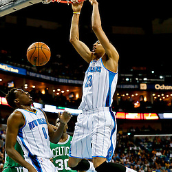 Mar 20, 2013; New Orleans, LA, USA; New Orleans Hornets power forward Anthony Davis (23) dunks against the Boston Celtics during the first quarter of a game at the New Orleans Arena. Mandatory Credit: Derick E. Hingle-USA TODAY Sports