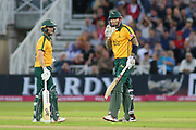 Alex Hales of Nottinghamshire Outlaws and Jake Libby of Nottinghamshire Outlaws celebrate Alex Hales of Nottinghamshire Outlaws getting 50 runs during the Vitality T20 Blast North Group match between Nottinghamshire County Cricket Club and Worcestershire County Cricket Club at Trent Bridge, West Bridgford, United Kingdon on 18 July 2019.