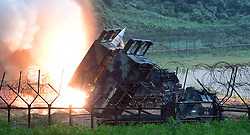 29 July 2017 - South Korea : (In this photo handout provided by South Korea Defense Ministry) U.S. Army Tactical Missile System fires a missile during the combined military exercise between the U.S. and South Korea against North Korea at an undisclosed location in South Korea on July 29, 2017. North Korean leader Kim Jong Un said Saturday the second flight test of an intercontinental ballistic missile demonstrated his country can hit the U.S. mainland, hours after the launch left analysts concluding that a wide swath of the United States, including Los Angeles and Chicago, is now in range of North Korean weapons. Photo Credit: South Korea Defense Ministry/Handout *** Please Use Credit from Credit Field ***