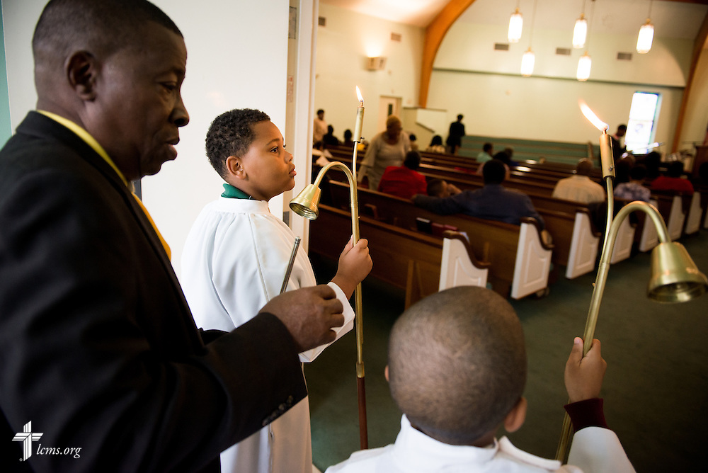 Acolytes prepare for worship at Trinity Lutheran Church Sunday, April 6, 2014, in Mobile, Ala. LCMS Communications/Erik M. Lunsford