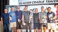 The men's team podium after Stage 3 of the 2017 Glacier Cradle Traverse, on Sunday the 7th of May. From left to right: Johan Stumpf (Managing Director Mpact), Grant Robertson & Tim Lansom (Cousins | 3rd), Andrew Stockwell & Dan Fowler (Continental Tyres | 1st) and Johan Cronje & Janus Marais (Zebra Sports | 2nd). Photo by Oakpics/Cradle Traverse/Sportzpics.