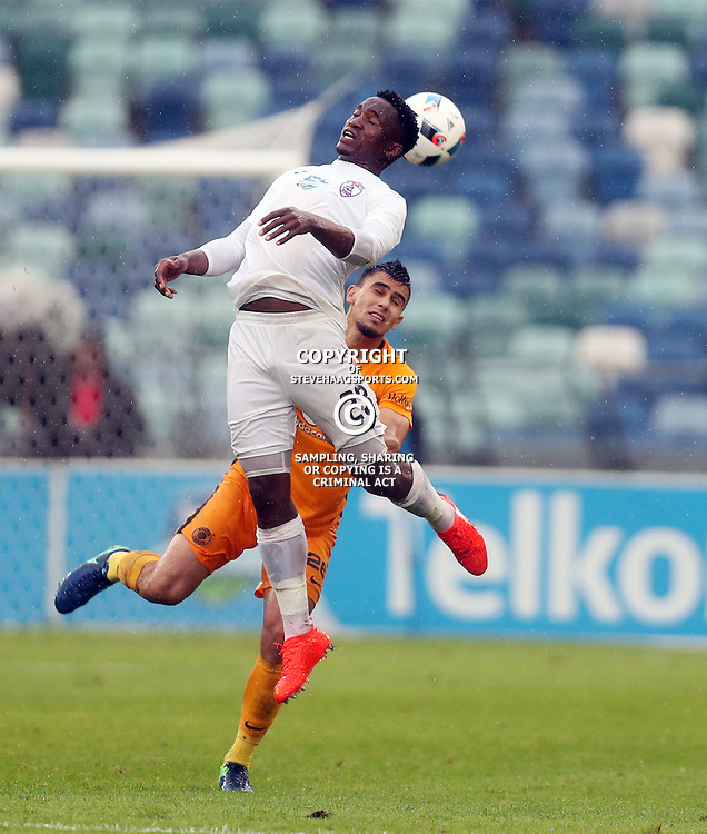 Moeketsi Sekola of Free State Stars out jumps Lorenzo Gordinho of Kaizer Chiefs during the Telkom Knockout quarterfinal  match between Kaizer Chiefs and Free State Stars at the Moses Mabhida Stadium , Durban, South Africa.6 November 2016 - (Photo by Steve Haag Kaizer Chiefs)