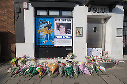 © under license to London News Pictures.  25/03/201. Flowers outside the SUJU nightclub in the Wiltshire town of Swindon, where personal assistant Sian O'Callaghan, was last seen alive. Her murdered body was found yesterday by police. Picture credit should read: London News Pictures