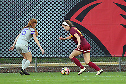 04 November 2016:  Emily Richardson & Jenna Szczesny during an NCAA Missouri Valley Conference (MVC) Championship series women's semi-final soccer game between the Loyola Ramblers and the Evansville Purple Aces on Adelaide Street Field in Normal IL
