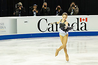 KELOWNA, BC - OCTOBER 25:  Russian figure skater Alexandra Trusova competes at Skate Canada International in the ladies short program at Prospera Place on October 25, 2019 in Kelowna, Canada. (Photo by Marissa Baecker/Shoot the Breeze)