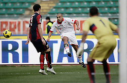 Bari (BA), 13-02-2011 ITALY - Italian Soccer Championship Day 25 - Bari VS Genoa..Pictured: Almiron (BA) Dainelli (GE).Photo by Giovanni Marino/OTNPhotos . Obligatory Credit