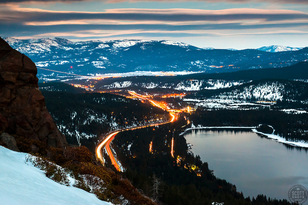 """Donner Lake at Night 4"" - Photograph shot a bit after sunset of Donner Lake, Truckee, and traffic on Highway 80."