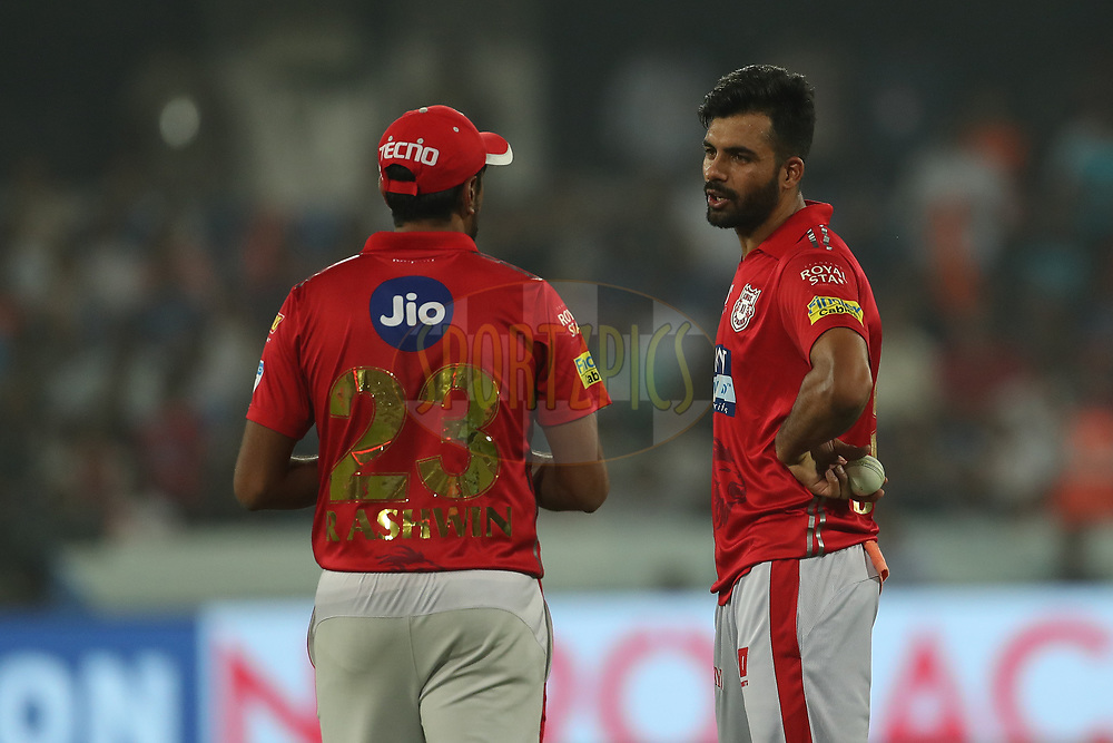 Ravichandran Ashwin of the Kings XI Punjab and Barinder Singh Sran of the Kings XI Punjab during match twenty five of the Vivo Indian Premier League 2018 (IPL 2018) between the Sunrisers Hyderabad and the Kings XI Punjab  held at the Rajiv Gandhi International Cricket Stadium in Hyderabad on the 26th April 2018.<br /> <br /> Photo by: Ron Gaunt /SPORTZPICS for BCCI