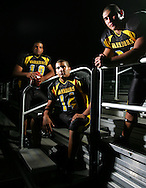 Photo by Alex Jones..Santa Rosa Warriors: #10 Buddy Garza, #14 Michael Lopez, #34 Sam Salazar