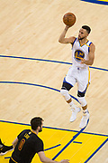 Golden State Warriors guard Stephen Curry (30) shoots a floater during Game 5 of the NBA Finals against the Cleveland Cavaliers at Oracle Arena in Oakland, Calif., on June 12, 2017. (Stan Olszewski/Special to S.F. Examiner)