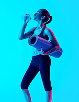 one mixed races woman exercsing fitness exercices drinking water  isolated on blue blackground