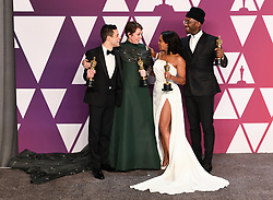 Rami Malek, winner of Best Actor for 'Bohemian Rhapsody'; Olivia Colman, winner of Best Actress for 'The Favourite'; Regina King, winner of Best Supporting Actress for 'If Beale Street Could Talk'; and Mahershala Ali, winner of Best Supporting Actor for 'Green Book' in the press room at the 91st Academy Awards held at the Dolby Theatre in Hollywood, Los Angeles, USA. Photo credit should read: Doug Peters/EMPICS.