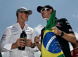 Motorsports / Formula 1: World Championship 2010, GP of Brazil, 03 Michael Schumacher (GER, Mercedes GP Petronas),   05 Sebastian Vettel (GER, Red Bull Racing),