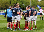 The London Scottish pack discuss tactics during the Green King IPA Championship Play-Off match between London Scottish &amp; Worcester at Richmond, Greater London on Saturday 2nd May 2015<br /> <br /> Photo: Ken Sparks | UK Sports Pics Ltd<br /> London Scottish v Worcester, Green King IPA Championship, 2nd May 2015<br /> <br /> &copy; UK Sports Pics Ltd. FA Accredited. Football League Licence No:  FL14/15/P5700.Football Conference Licence No: PCONF 051/14 Tel +44(0)7968 045353. email ken@uksportspics.co.uk, 7 Leslie Park Road, East Croydon, Surrey CR0 6TN. Credit UK Sports Pics Ltd