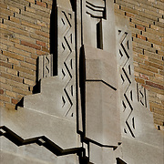 Close-up of Art Deco architecture design detail on side of City of New York Greenwich Substation building from the 1920s-1930s.