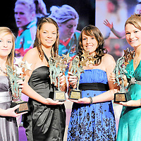 14 November 2009; Young Players of the Year, from left, Niamh McLoughlin, Donegal, Niamh O'Dea, Clare, Cliona Murray, Meath and Aileen Gilroy of Mayo. TG4 O'Neill's Ladies Football All-Star Awards 2009, Citywest Hotel, Conference, Leisure and Golf Resort, Dublin. Picture credit: Brendan Moran / SPORTSFILE *** NO REPRODUCTION FEE ***