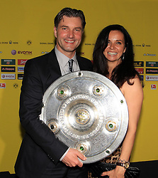 14.05.2011, Banksaal, Dortmund, GER, 1.FBL, Borussia Dortmund Meisterbankett im Bild Manager Michael Zorc und Ehefrau Jola und Meisterschale//   German 1.Liga Football ,  Borussia Dortmund Championscelebration, Dortmund, 14/05/2011 . EXPA Pictures © 2011, PhotoCredit: EXPA/ nph/  Conny Kurth       ****** out of GER / SWE / CRO  / BEL ******