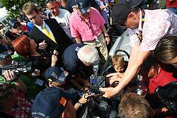 17.07.2010, Groebming, AUT, Ennstal Classic, Chopard Grand Prix Groebming, im Bild Sebastian Vettel auf einem Formel 1 Porsche aus dem Jahre 1962 wird von Medienvertretern belagert, EXPA Pictures © 2010, PhotoCredit: EXPA/ J. Groder / SPORTIDA PHOTO AGENCY