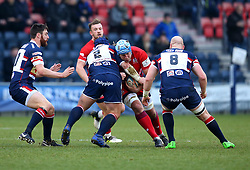 Jordan Crane of Bristol Rugby is tackled by Ben Hunter of Doncaster Knights - Mandatory by-line: Robbie Stephenson/JMP - 13/01/2018 - RUGBY - Castle Park - Doncaster, England - Doncaster Knights v Bristol Rugby - B&I Cup