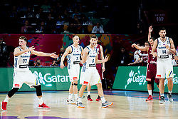 Luka Doncic of Slovenia, Klemen Prepelic of Slovenia, Aleksej Nikolic of Slovenia, Gasper Vidmar of Slovenia during basketball match between National Teams of Slovenia and Latvia at Day 13 in Round of 16 of the FIBA EuroBasket 2017 at Sinan Erdem Dome in Istanbul, Turkey on September 12, 2017. Photo by Vid Ponikvar / Sportida
