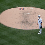 NEW YORK, NEW YORK - July 05: Pitcher Matt Harvey #33 of the New York Mets after making an error throwing to the plate in the fourth inning during the Miami Marlins Vs New York Mets regular season MLB game at Citi Field on July 04, 2016 in New York City. (Photo by Tim Clayton/Corbis via Getty Images)